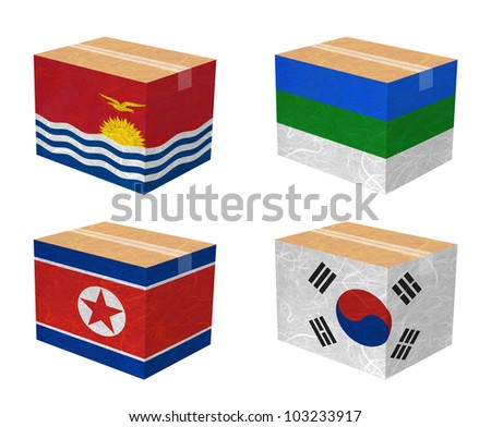 Nation Flag. Box recycled paper on white background. ( Kiribati , Komi , Korea North , Korea South ) - stock photo