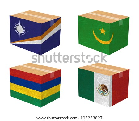 Nation Flag. Box recycled paper on white background. ( Marshall Islands , Mauritania , Mauritius , Mexico ) - stock photo