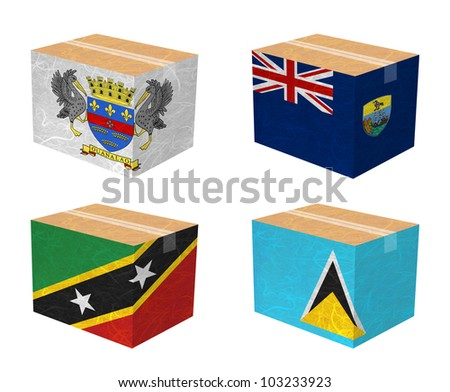 Nation Flag. Box recycled paper on white background. ( Saint Barthelemy , Saint Helena , Saint Kitts and Nevis , Saint Lucia ) - stock photo