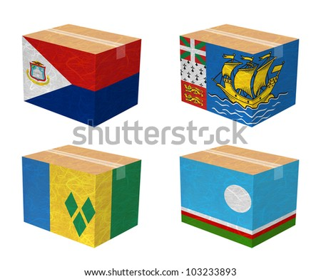Nation Flag. Box recycled paper on white background. ( Saint Martin , Saint Pierre and Miquelon, Saint Vincent and the Grenadines , Sakha Republic ) - stock photo