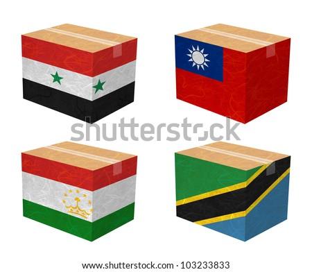 Nation Flag. Box recycled paper on white background. ( Syria , Taiwan, Tajikistan , Tanzania) - stock photo