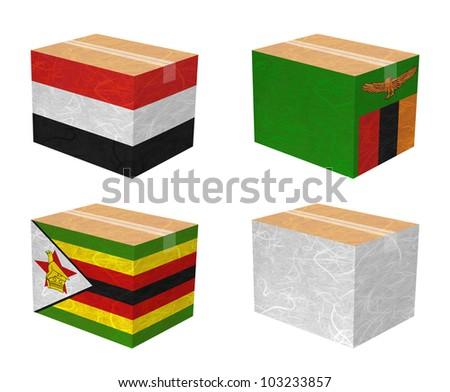 Nation Flag. Box recycled paper on white background. ( Yemen, Zambia , Zimbabwe , White Blank ) - stock photo