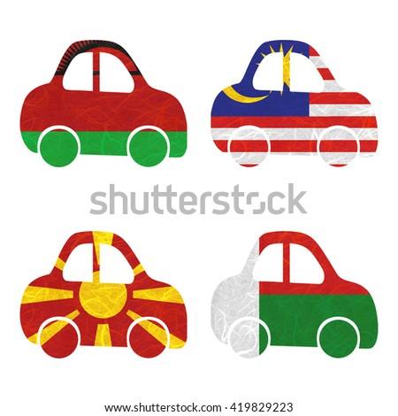 Nation Flag. Car recycled paper on white background. ( Macedonia , Madagascar , Malawi , Malaysia ) - stock photo
