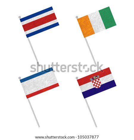 Nation Flag. Flag pole recycled paper on white background. ( CostaRica, Cote dlvoire , Crimea , Croatia ) - stock photo