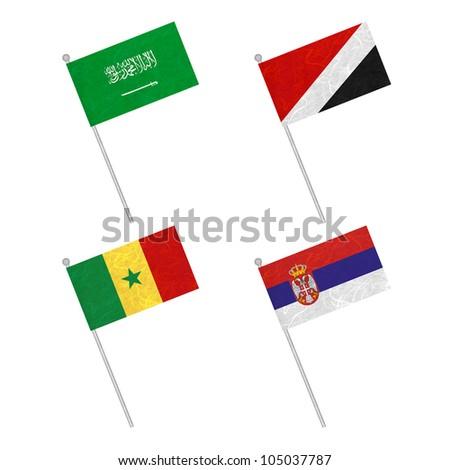 Nation Flag. Flag pole recycled paper on white background. ( Saudi Arabia , Sealand Principality , Senegal , Serbia ) - stock photo