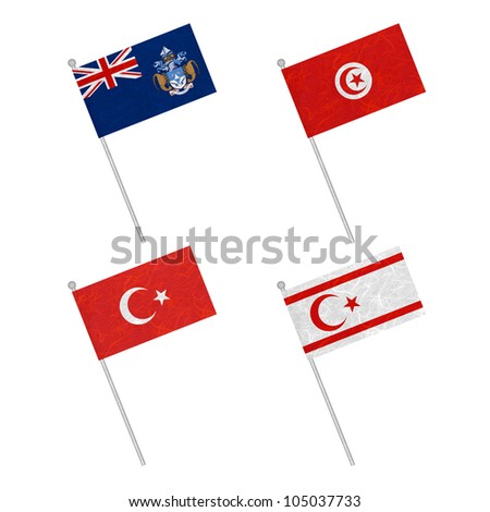 Nation Flag. Flag pole recycled paper on white background. ( Tristan da Cunha , Tunisia , Turkey , Turkish Republic of Northern Cyprus ) - stock photo