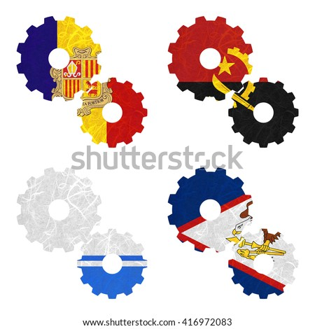 Nation Flag. Gear recycled paper on white background. ( Altai Republic , American Samoa , Andorra , Angola ) - stock photo