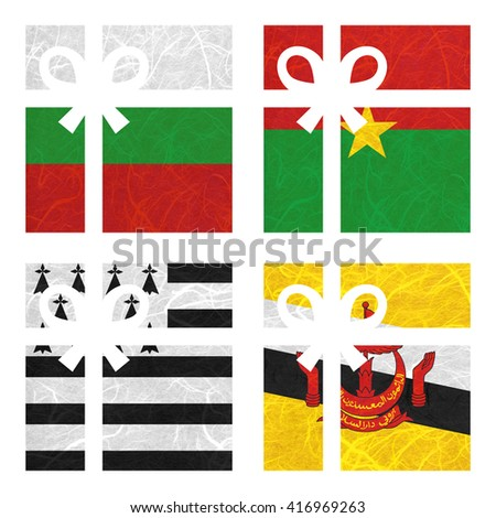 Nation Flag. Gift-box recycled paper on white background. ( Brittany , Brunei Darussalam , Bulgaria , Burkina Faso ) - stock photo