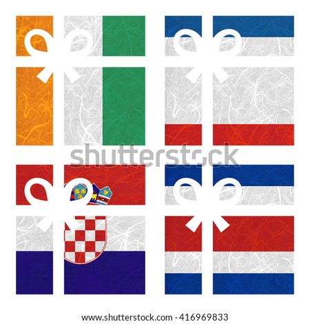 Nation Flag. Gift-box recycled paper on white background. ( CostaRica, Cote dlvoire , Crimea , Croatia ) - stock photo