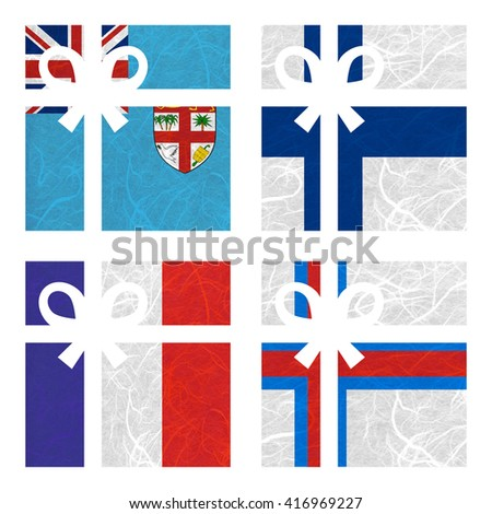 Nation Flag. Gift-box recycled paper on white background. ( Faroe Islands , Fiji , Finland , France ) - stock photo