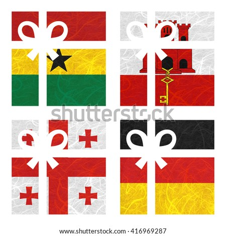 Nation Flag. Gift-box recycled paper on white background. ( Georgia , Germany , Ghana , Gibraltar ) - stock photo