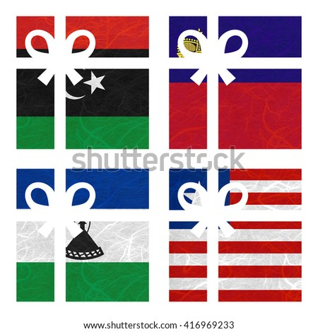 Nation Flag. Gift-box recycled paper on white background. ( Lesotho , Liberia , Libya , Liechtenstein ) - stock photo