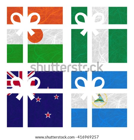 Nation Flag. Gift-box recycled paper on white background. ( New Zealand , Nicaragua , Niger , Nigeria ) - stock photo