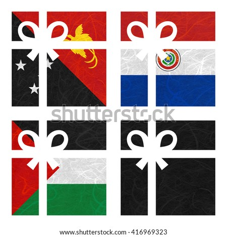 Nation Flag. Gift-box recycled paper on white background. ( Palestine , Black , Papua New Guinea , Paraguay ) - stock photo
