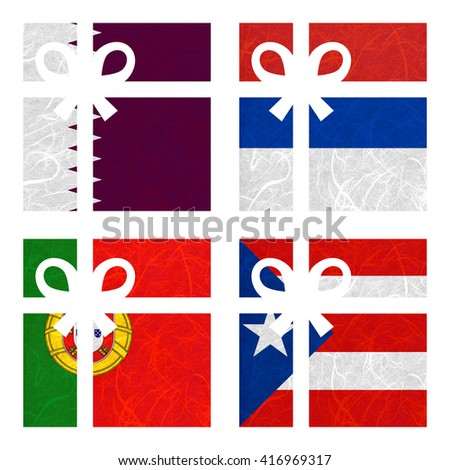 Nation Flag. Gift-box recycled paper on white background. ( Portugal , Puerto Rico , Qatar , Republika Srpska ) - stock photo