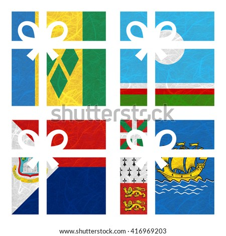 Nation Flag. Gift-box recycled paper on white background. ( Saint Martin , Saint Pierre and Miquelon, Saint Vincent and the Grenadines , Sakha Republic ) - stock photo