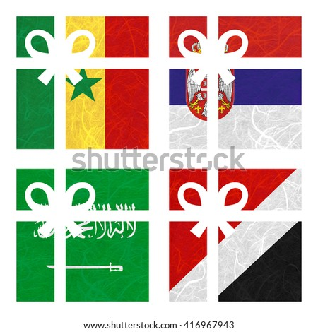 Nation Flag. Gift-box recycled paper on white background. ( Saudi Arabia , Sealand Principality , Senegal , Serbia ) - stock photo