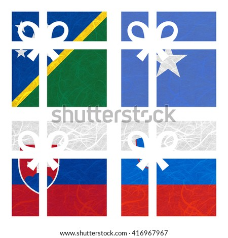 Nation Flag. Gift-box recycled paper on white background. ( Slovakia , Slovenia , Solomon Islands , Somalia ) - stock photo