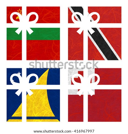 Nation Flag. Gift-box recycled paper on white background. ( Tokelau , Tonga , Transnistria , Trinidad and Tobago ) - stock photo