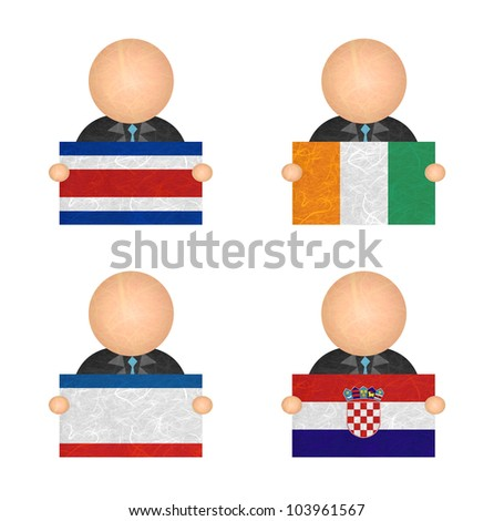 Nation Flag. Label recycled paper on white background. ( CostaRica, Cote dlvoire , Crimea , Croatia ) - stock photo