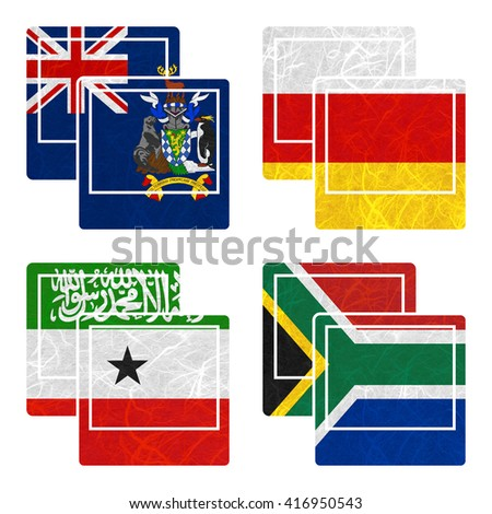 Nation Flag. Photo recycled paper on white background. ( Somaliland , South Africa , South Georgia and the South Sandwich Islands , South Ossetia ) - stock photo