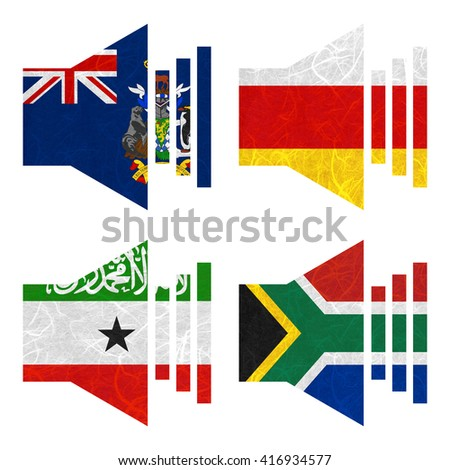 Nation Flag. Sound recycled paper on white background. ( Somaliland , South Africa , South Georgia and the South Sandwich Islands , South Ossetia ) - stock photo