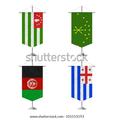 Nation Flag. Table flag recycled paper on white background. ( Abkhazia , Adygea , Afghanistan , Ajaria ) - stock photo