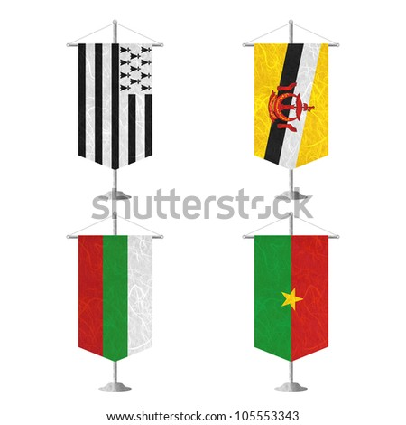 Nation Flag. Table flag recycled paper on white background. ( Brittany , Brunei Darussalam , Bulgaria , Burkina Faso ) - stock photo