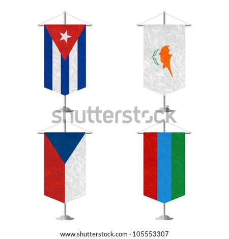 Nation Flag. Table flag recycled paper on white background. ( Cuba , Cyprus , Czech Republic , Dagestan ) - stock photo