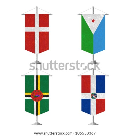 Nation Flag. Table flag recycled paper on white background. ( Denmark , Djibouti , Dominica , Dominican Republic ) - stock photo