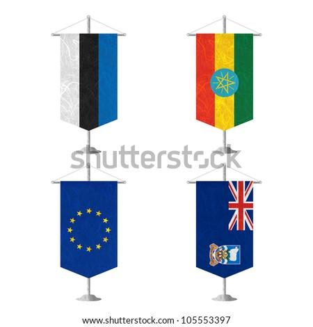 Nation Flag. Table flag recycled paper on white background. ( Estonia , Ethiopia , European Union , Falkland Islands ) - stock photo