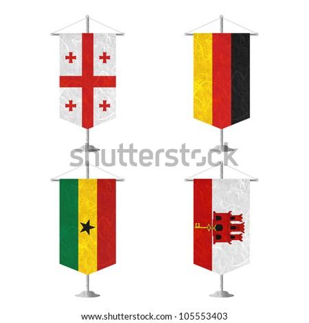 Nation Flag. Table flag recycled paper on white background. ( Georgia , Germany , Ghana , Gibraltar ) - stock photo