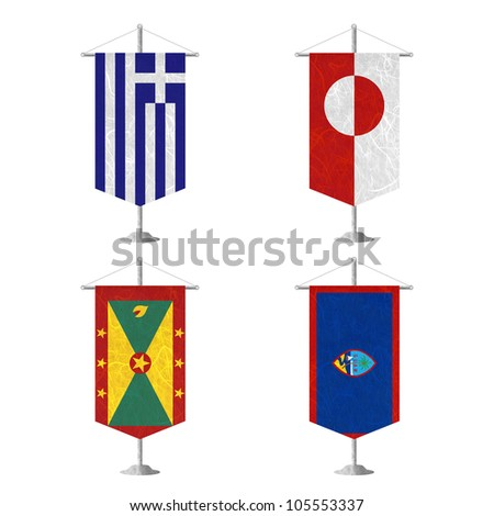 Nation Flag. Table flag recycled paper on white background. ( Greece , Greenland , Grenada , Guam ) - stock photo