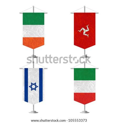 Nation Flag. Table flag recycled paper on white background. ( Ireland , Isle of Man , Israel , Italy ) - stock photo