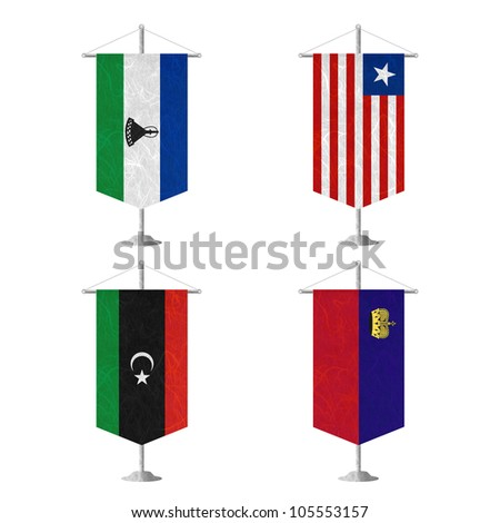 Nation Flag. Table flag recycled paper on white background. ( Lesotho , Liberia , Libya , Liechtenstein ) - stock photo