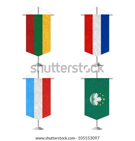 Nation Flag. Table flag recycled paper on white background. ( Lithuania , Los Altos , Luxembourg , Macau ) - stock photo