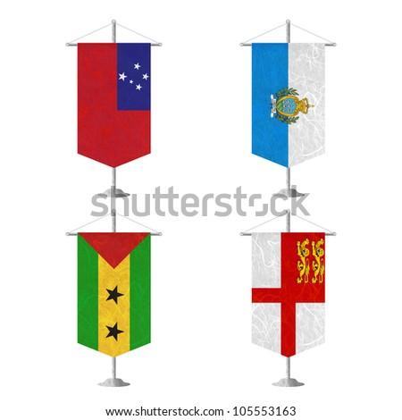 Nation Flag. Table flag recycled paper on white background. ( Samoa , San Marino , Sao Tome and Principe , Sark ) - stock photo