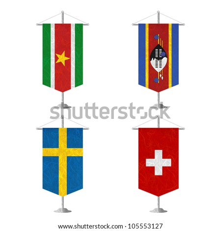 Nation Flag. Table flag recycled paper on white background. ( Suriname , Swaziland , Sweden , Switzerland ) - stock photo