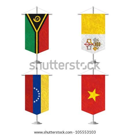 Nation Flag. Table flag recycled paper on white background. ( Vanuatu , Vatican City State , Venezuela , Vietnam ) - stock photo