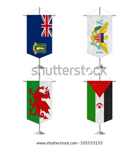 Nation Flag. Table flag recycled paper on white background. ( Virgin Islands - UK , Virgin Islands - US , Wales , Western Sahara ) - stock photo