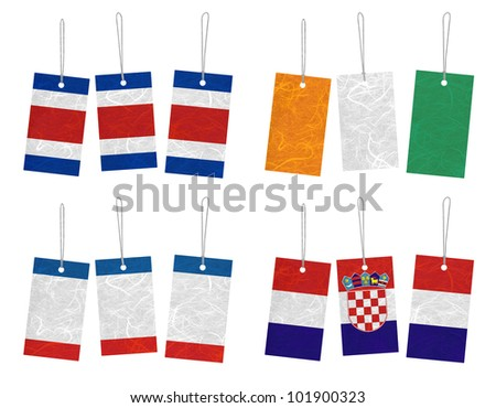 Nation Flag. Tag recycled paper on white background. ( CostaRica , Cote dlvoire , Crimea , Croatia ) - stock photo