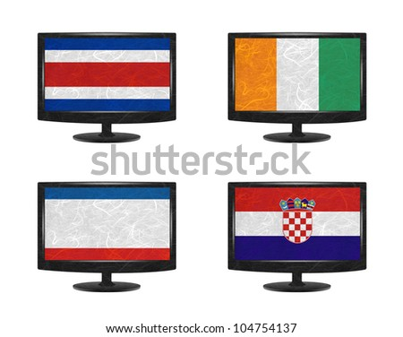 Nation Flag. Television recycled paper on white background. ( CostaRica, Cote dlvoire , Crimea , Croatia ) - stock photo