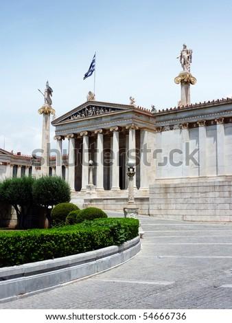 national academy of Athens, with Apollo & Athena statues - stock photo