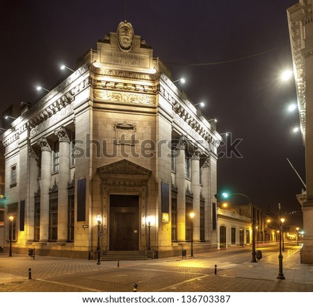 National Bank of Peru Museum facade in Lima Peru. - stock photo