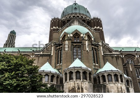 National Basilica of Sacred Heart (Basilique Nationale du Sacre-Coeur) - Roman Catholic Minor Basilica and parish church in Brussels. Basilica ranks fifth among world's largest churches. Belgium.  - stock photo