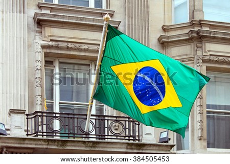 National Brazil flag at building - stock photo