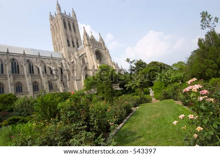 National Cathedral Lawn - stock photo