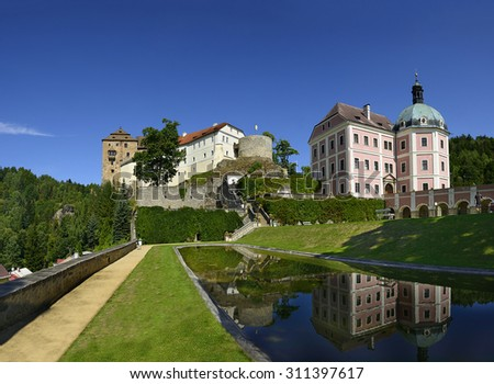 National cultural monument Castle and Chateau of Becov nad Teplou in the west part of the Czech Republic near the world famous spa town Karlovy Vary. - stock photo