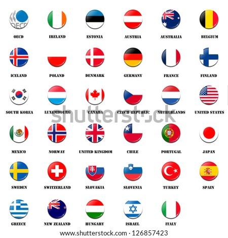 national flag ball of OECD (Organisation for Economic Co-operation and Development) members - stock photo
