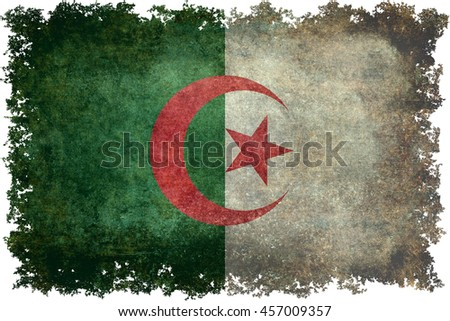 National flag of Algeria, (officially The People's Democratic Republic of Algeria) with distressed textures and edges - stock photo